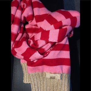 NWT Kate Spade red pink stripes scarf metallic bow